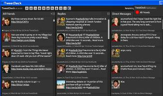 Tweetdeck lets you group replies and scroll left/right as well as up/down